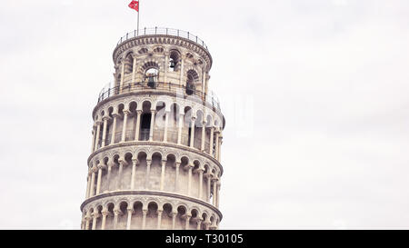 close shot of the famous leaning tower in pisa, italy - Stock Photo