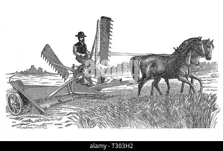 Farm machinery XIX century: horse grain mower with hay rakes - Stock Photo