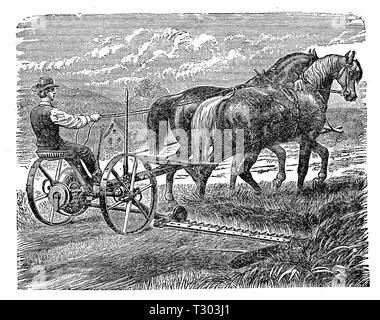 Farming machine XIX century: grass mower trained by horses with a reaping attachment for cutting grass and grain. - Stock Photo