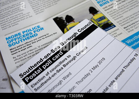 Southend on Sea Borough Council Westborough Ward postal poll card and Conservative party leaflet. Local council elections 2019 Election of councillors - Stock Photo