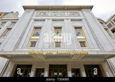 PARIS, FRANCE - JULY 22, 2017: Champs Elysees theater facade with golden sign in summer in Paris, France