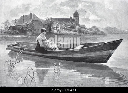 Digital improved reproduction, Peaceful mood in Lake Chiem, in a small boat sits a woman in the holiday dress and holds her baby in the arm, Friedliche Stimmung am Chiemsee, In einem Kahn sitzt eine Frau im Feiertagskleid und hält ihr Baby im Arm, from an original print from the 19th century - Stock Photo