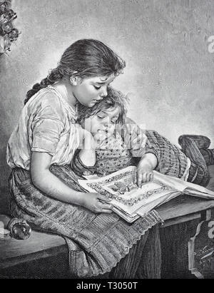 Digital improved reproduction, Two girls are deepened in a picture book, after a painting by Paul Wagner, Zwei Mädchen sind in einem Bilderbuch vertieft, nach einem Gemälde von Paul Wagner, from an original print from the 19th century - Stock Photo