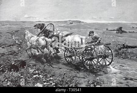 Digital improved reproduction, The coachman on a Polish cart drives his horses to the haste, Der Kutscher auf einem polnischen Fuhrwerk treibt seine Pferde zur Eile an, from an original print from the 19th century - Stock Photo