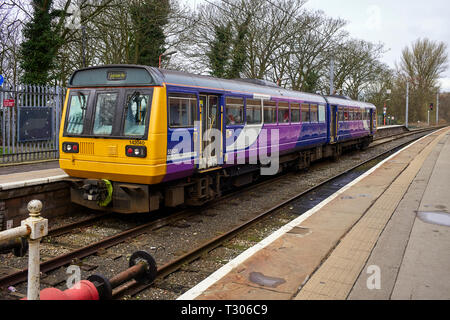 Pacer train class 142 at Lancaster Station heading for Heysham Port - Stock Photo