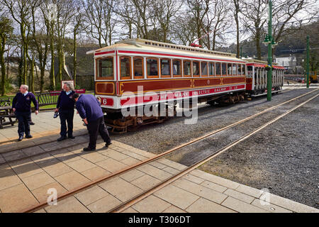 Drivers and conductor with MER Manx Electric Railway two car trains set at Laxey Station - Stock Photo
