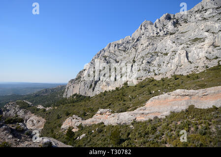 Southern Cliffs of Mont Sainte-Victoire or Sainte Victoire Mountain,  Celebrated in the Paintings of Paul Cezanne, Aix-en-Provence Provence France - Stock Photo