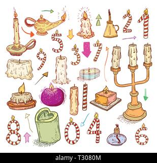 collection of candles, candles icons,  drawn vector illustration. - Stock Photo