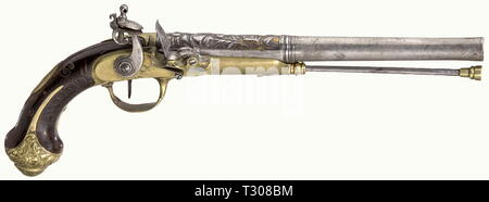 Small arms, pistols, cavalry flintlock pistol, calibre 17 mm, for the oriental market, St. Etienne, France, circa 1820, Additional-Rights-Clearance-Info-Not-Available - Stock Photo