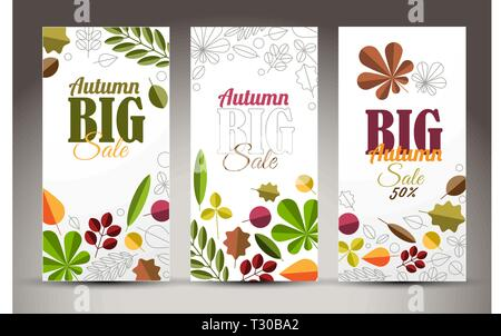 Set of fresh minimalist autumn vertical banners with leafs and sample text - Stock Photo