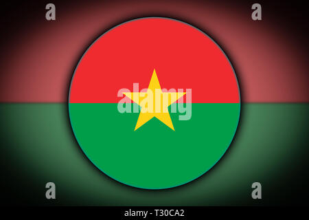 The national flag of Burkina Faso in the form of a round button with the reflection of light and shadow. Flag in the shape of a circle. Country icon. - Stock Photo