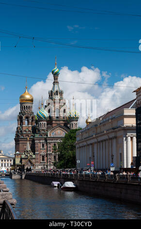 Church of the Savior on Spilled Blood on a Sunny summer day, view from Griboedov Canal, St. Petersburg - Stock Photo