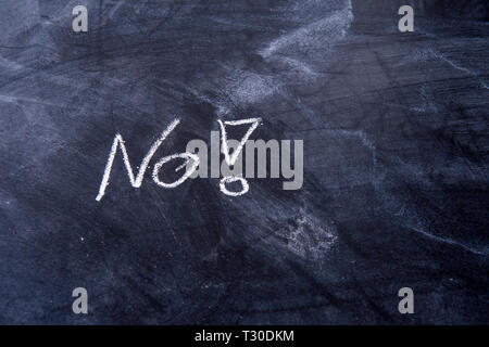 the only Word No with an exclamation mark on a blackboard - Stock Photo