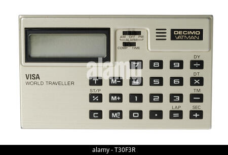 1970's pocket calculator. Simple arithmetic machine, handheld device. Decimo Vatman Visa World Traveller - Stock Photo