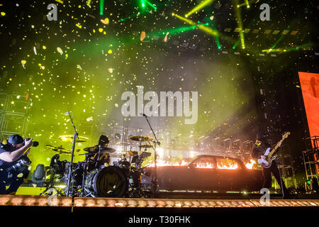 Denmark, Copenhagen - February 11, 2019. The American duo Twenty One Pilots performs live concert at Royal Arena in Copenhagen. Here vocalist, rapper and musician Tyler Joseph is seen live on stage with drummer Josh Dun. (Photo credit: Gonzales Photo - Bo Kallberg). - Stock Photo