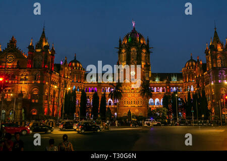 04-Nov-2017-Chhatrapati Shivaji Maharaj Terminus (CSMT) formerly Victoria Terminus in Mumbai, India is a UNESCO World Heritage Site, - Stock Photo