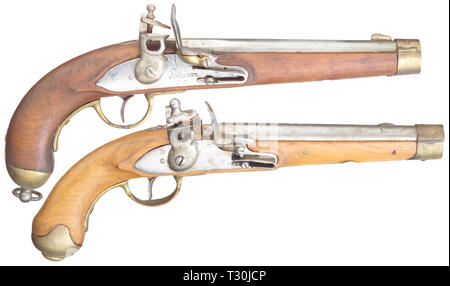 Small arms, pistols, flintlock pistols, two cavalry pistols M 1823, calibre 16 mm, Potsdam G.S., replicas for collectors, Additional-Rights-Clearance-Info-Not-Available - Stock Photo