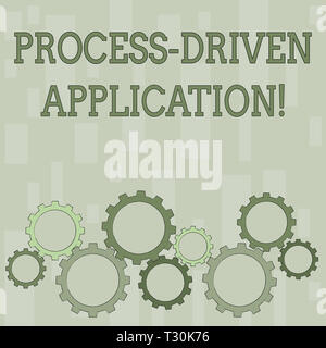 Word writing text Process Driven Application. Business photo showcasing workflow engine where process can be exposed Colorful Cog Wheel Gear Engaging, - Stock Photo