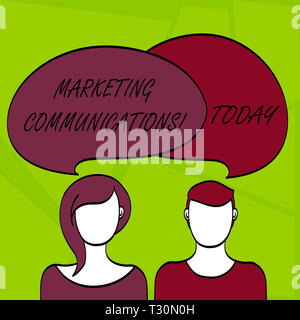 Writing note showing Marketing Communications. Business concept for Advertising Personal Selling and Sales Promotion Faces of Male and Female Colorful - Stock Photo