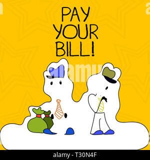 Word writing text Pay Your Bill. Business photo showcasing amount of money to be paid as to workmen or for service Figure of Two Men Standing with Pou - Stock Photo