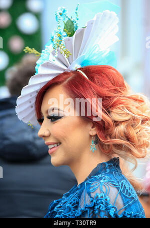 Aintree Racecourse, Aintree, UK. 5th Apr, 2019. The 2019 Grand National horse racing festival, day 2; Fashions on display for Ladies day at Aintree Credit: Action Plus Sports/Alamy Live News - Stock Photo