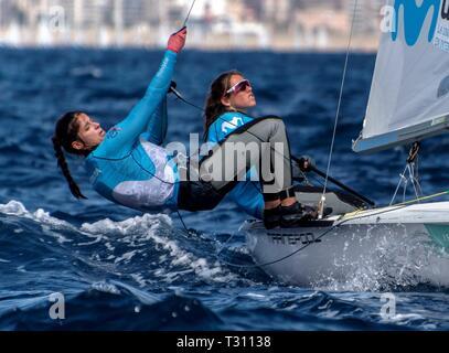 Palma De Mallorca, Spain. 05th Apr, 2019. Silvia Mas Depares and Patricia Cantero compete in the 470 event during the 50th Princess Sofia Iberostar Trophy, at the Palma Bay, in Palma de Majorca, Balearic Islands, Spain, 05 April 2019. Credit: Cati Cladera/EFE/Alamy Live News - Stock Photo