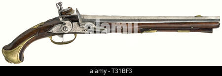 Small arms, pistols, cavalry flintlock pistol, calibre 17 mm, Baden, circa 1740 / 1750, Additional-Rights-Clearance-Info-Not-Available - Stock Photo