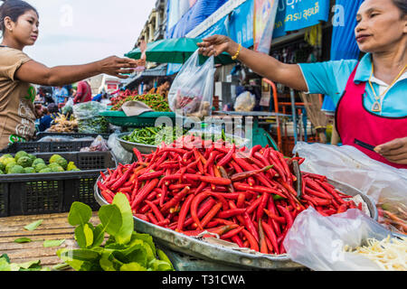 February 2019. Phuket Town Thailand. Chilis for sale at the 24 hour local fruit market in old Phuket Town - Stock Photo
