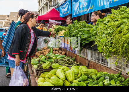 February 2019. Phuket Town Thailand. A fruit and vegetable stall at the 24 hour local fruit market in old Phuket Town - Stock Photo