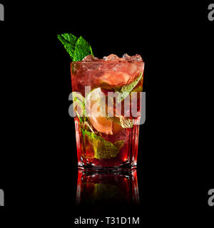 fruit mojito cocktail on a black background - Stock Photo