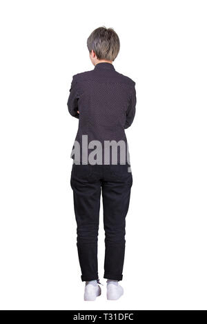 Full length rear view casual young woman hipster keeps arms folded isolated over white background. Confident female planning future business success. - Stock Photo