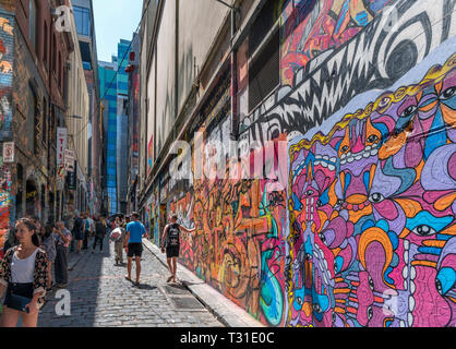 Street Art on Hosier Lane in the Central Business District, Melbourne, Victoria, Australia - Stock Photo