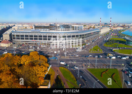 SAINT-PETERSBURG, RUSSIA - OCTOBER 11, 2018: View of the hotel 'Moscow' on a sunny October afternoon (aerial photography) - Stock Photo