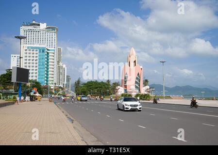 NHA TRANG, VIETNAM - JANUARY 01, 2016: Sunny day on the city street - Stock Photo