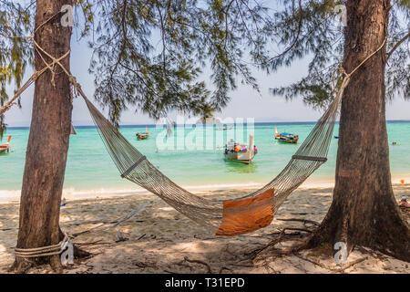 February 2019. Ko Lipe Thailand. A view of a hammock on the beach in Ko Lipe in Ko tarutao national park in Thailand
