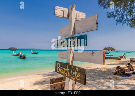February 2019. Ko Lipe Thailand. A view of wooden signage on the beach in Ko Lipe in Ko tarutao national park in Thailand