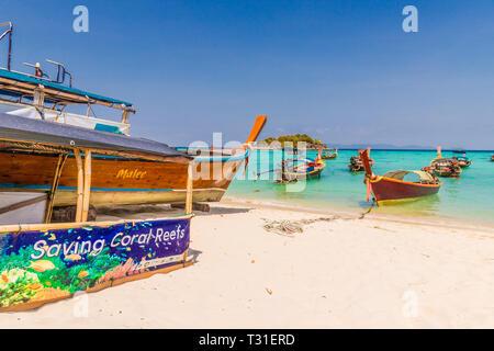 February 2019. Ko Lipe Thailand. A view of long tail boats in Ko Lipe in Ko tarutao national park in Thailand