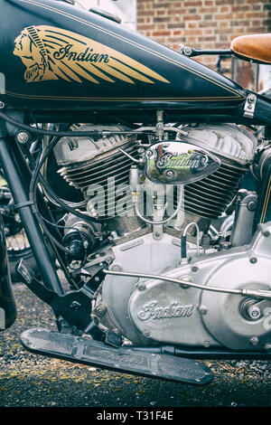 1959 Indian Chief motorcycle. Bicester Heritage Centre, Oxfordshire, England - Stock Photo