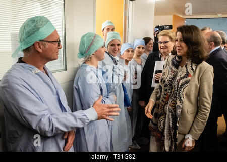 Agnès Buzin greeted the hospital staff - Stock Photo