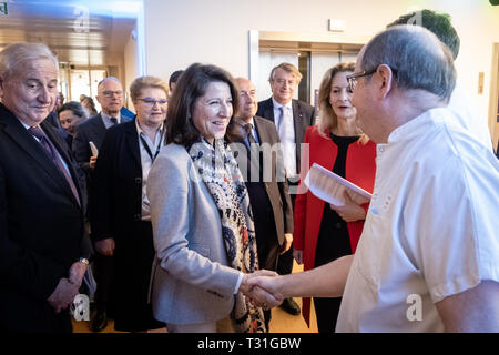 Agnès Buzyn Minister of Health inaugurated pavilion H of Edouard Herriot hospital in Lyon - Stock Photo