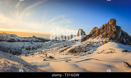 Panoramic view of Ra Gusela peak in front of mount Averau and Nuvolau, in Passo Giau, high alpine pass near Cortina d'Ampezzo, Dolomites, Italy - Stock Photo