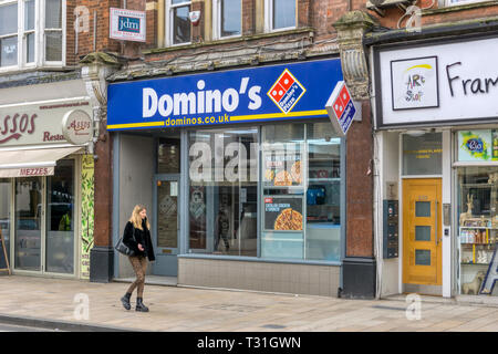A branch of Domino's Pizza in Bromley, South London. - Stock Photo