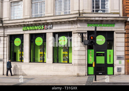 A branch of Jennings Bet bookmakers in the old closed premises of Lloyds Bank on Bromley Market Square, South London. - Stock Photo