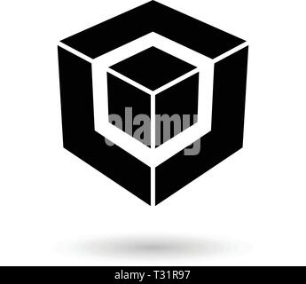 Vector Illustration of Monochrome Black Cube in Cube isolated on a white background - Stock Photo