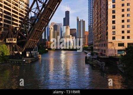 Raised bridge over Chicago River, Chicago, Illinois, United States - Stock Photo
