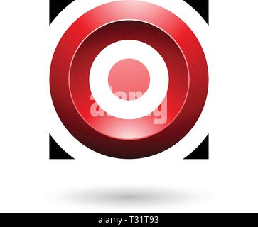 Vector Illustration of Red Glossy Circle in a Square isolated on a white background - Stock Photo