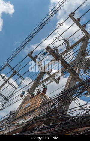 electric power electricity lines and sub station breakers at an energy station in Thailand. - Stock Photo