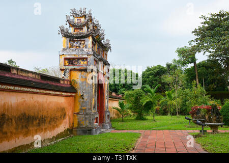 The Hung To Mieu Temple Gate in the Imperial City, Hue, Vietnam - Stock Photo