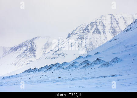 Bumps on the mountain for breaking up avalanches near Flateyri in the Westfjords region of Iceland - Stock Photo