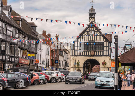 Originally a barn, the Town Hall, a black and white building was erected in 1650 in Bridgnorth High Street. - Stock Photo